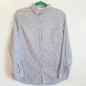 Old Navy Heart Print Striped The Classic Shirt